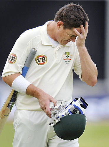 Marcus North reacts after being dismissed for 96 on the final day of the third Ashes Test between England and Australia at Edgbaston in Birmingham. (AFP Photo)
