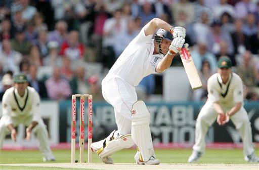England captain Andrew Strauss plays a shot off the bowling of Ben Hilfenhaus on Day 1 of the fourth Test between England and Australia in Leeds. (AP Photo)