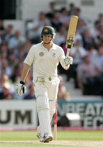 Shane Watson acknowledges the crowd after scoring fifty runs on Day 1 of the fourth Test between England and Australia in Leeds. (AP Photo)