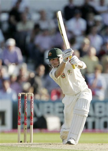 Michael Clarke plays a shot off the bowling of James Anderson on Day 1 of the fourth Test between England and Australia in Leeds. (AP Photo)