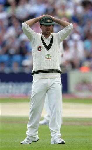 Australian captain Ricky Ponting reacts after an appeal was turned down on Day 1 of the fourth Test between England and Australia in Leeds. (AP Photo)