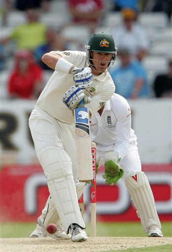 Marcus North plays a shot off the bowling of Graeme Swann on Day 2 of the fourth Test match between England and Australia at Headingley in Leeds. (AP Photo)