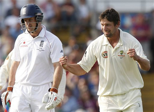 Ben Hilfenhaus celebrates the wicket of Andrew Strauss on Day 2 of the fourth Test match between England and Australia at Headingley in Leeds. (AP Photo)