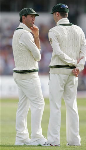 Australian captain Ricky Ponting, left, talks with vice captain Michael Clarke on Day 2 of the fourth Test match between England and Australia at Headingley in Leeds. (AP Photo)