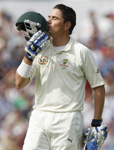 Marcus North celebrates his century (100 runs) on Day 2 of the fourth Test match between England and Australia at Headingley in Leeds. (AP Photo)