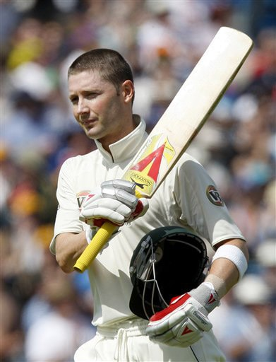 Michael Clarke leaves the field after being bowled LBW by Graham Onions on Day 2 of the fourth Test match between England and Australia at Headingley in Leeds. (AP Photo)
