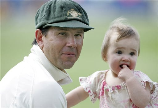 Australian captain Ricky Ponting with his daughter Emmy after beating England on Day 3 of the fourth Test between England and Australia at Headingley in Leeds. (AP Photo)