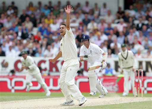 Mitchell Johnson appeals unsuccessfully for the wicket of Graeme Swann on Day 3 of the fourth Test between England and Australia at Headingley in Leeds. (AP Photo)