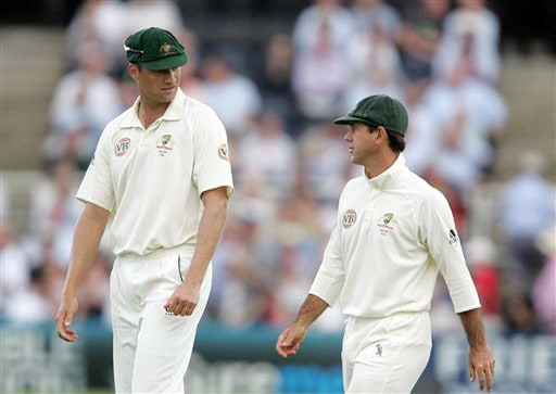 Ricky Ponting talks with bowler Stuart Clark on Day 3 of the fourth Test between England and Australia at Headingley in Leeds. (AP Photo)