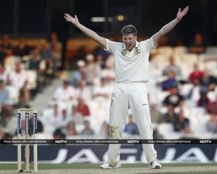 England, whose run-rate on Friday had barely risen above two an over, scored 22 runs in two overs, 10 off spinner Nathan Lyon and 12 off debutant seamer James Faulkner, with Trott piercing the legside field for a couple of excellent boundaries. <br> But a second-wicket stand of 64 ended when Cook was lbw for 34 to left-armer Faulkner, who'd taken four for 51 in England's first innings 377.