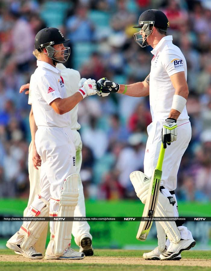 Jonathan Trott (59) and Kevin Pietersen (62), who both scored their maiden Test hundreds in Ashes matches at The Oval in 2009 and 2005 respectively, kept England in sight of an improbable win, in a match where they had largely been outplayed, after Clarke closed Australia's second innings at 111 for six.