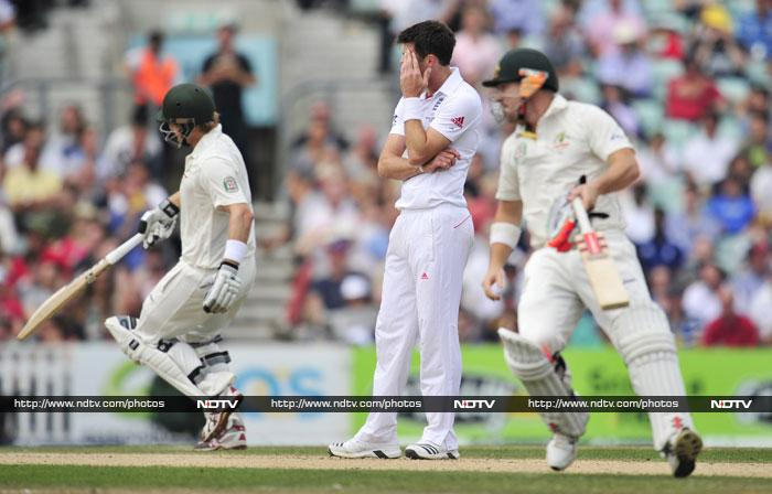 England eventually finished 115 runs behind Australia's first innings 492 for nine declared. <br> Australia, seeking quick runs, sent Shane Watson, man-of-the-match for his Test-best 176 in the first innings, back up to open alongside Warner instead of the more staid Chris Rogers.