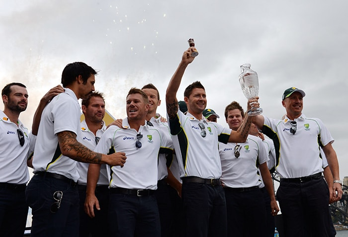 And finally, it was time to lift the Ashes urn once again. Never gets boring, does it? (AFP image)