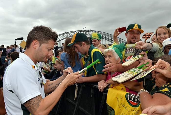 Clarke led by example at the Opera House, signing autographs and posing for photos throughout the day. (AFP image)