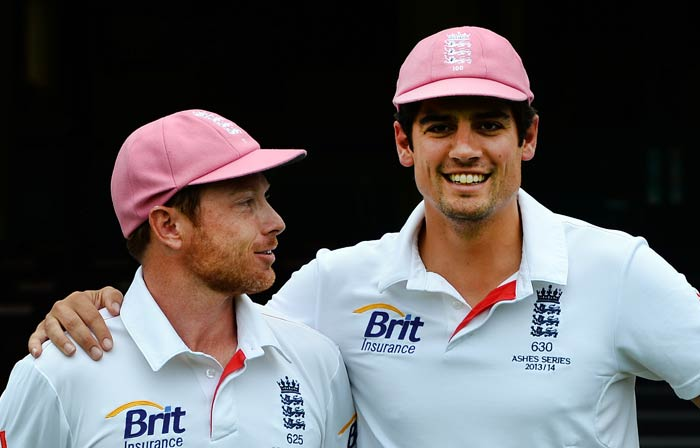 Despite England's horror showing, at least the pink made Ian Bell and Alastair Cook smile.
