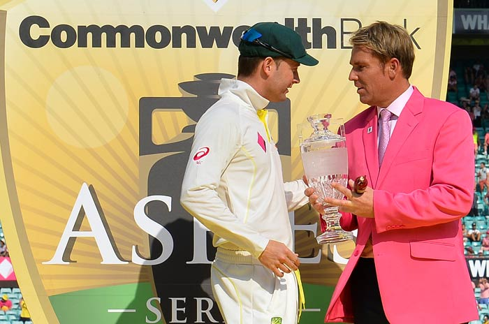 The master and the pupil. Shane Warne can carry off pink with aplomb! Michael Clarke wouldn't look to bad either.