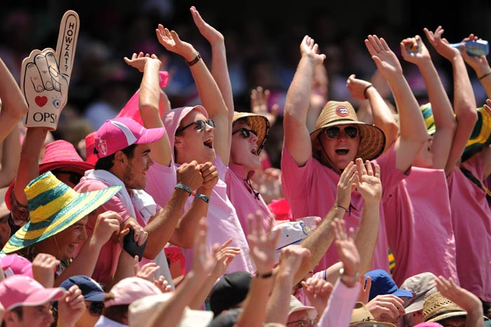 The crowd in Sydney, dressed impeccably in pink celebrated an Aussie whitewash of the Ashes - or 'pinkwash' as they called it!