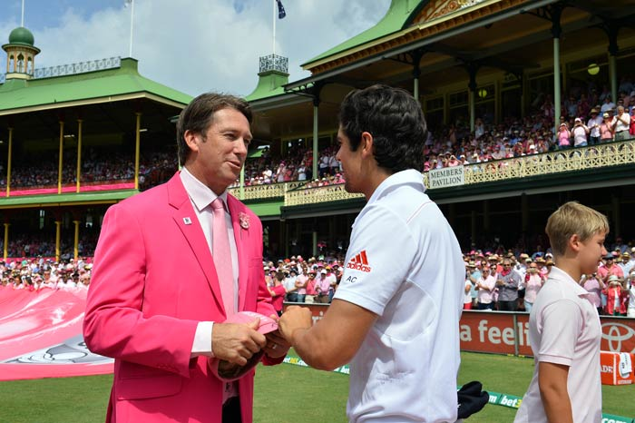 Each player from both England and Australia presented McGrath with a signed pink cap, the proceeds of which will go to charity.