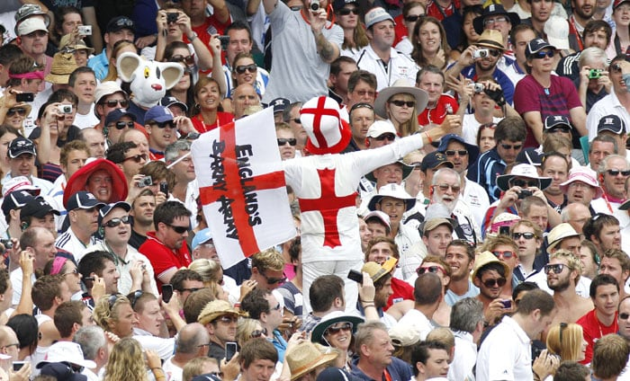 The Barmy Army support the English cricket team on the fifth day of play in the 5th Ashes Test Match in Sydney. (AP Photo)