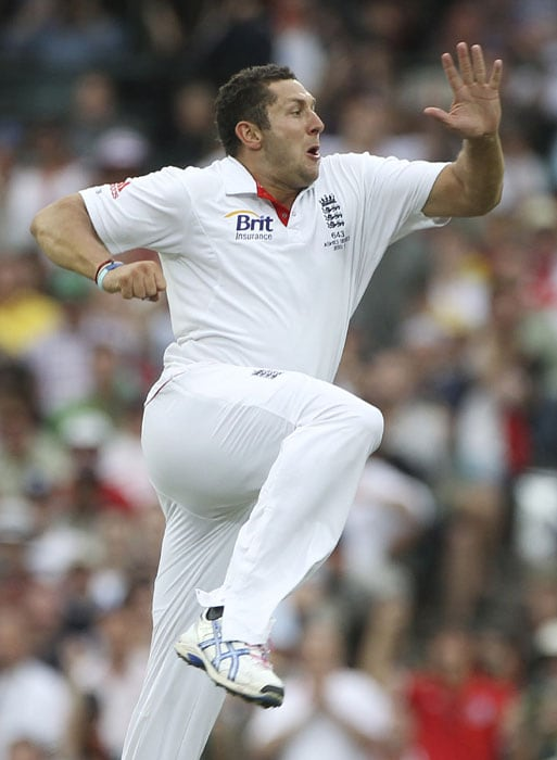 England's Tim Bresnan celebrates after dismissing Australian batsman Shane Watson on day one of the fifth Ashes cricket Test at the Sydney Cricket Ground. (AP Photo)