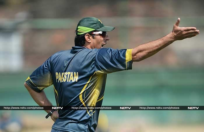 A usually cool and calm Misbah gestures to his teammates during the practice session on Friday, ahead of the Asia Cup final against Sri Lanka.