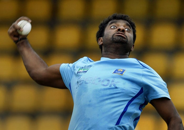 Muttiah Muralitharan bowls during a practice session ahead of the Asia Cup match against Pakistan in Dambulla. (AP Photo)