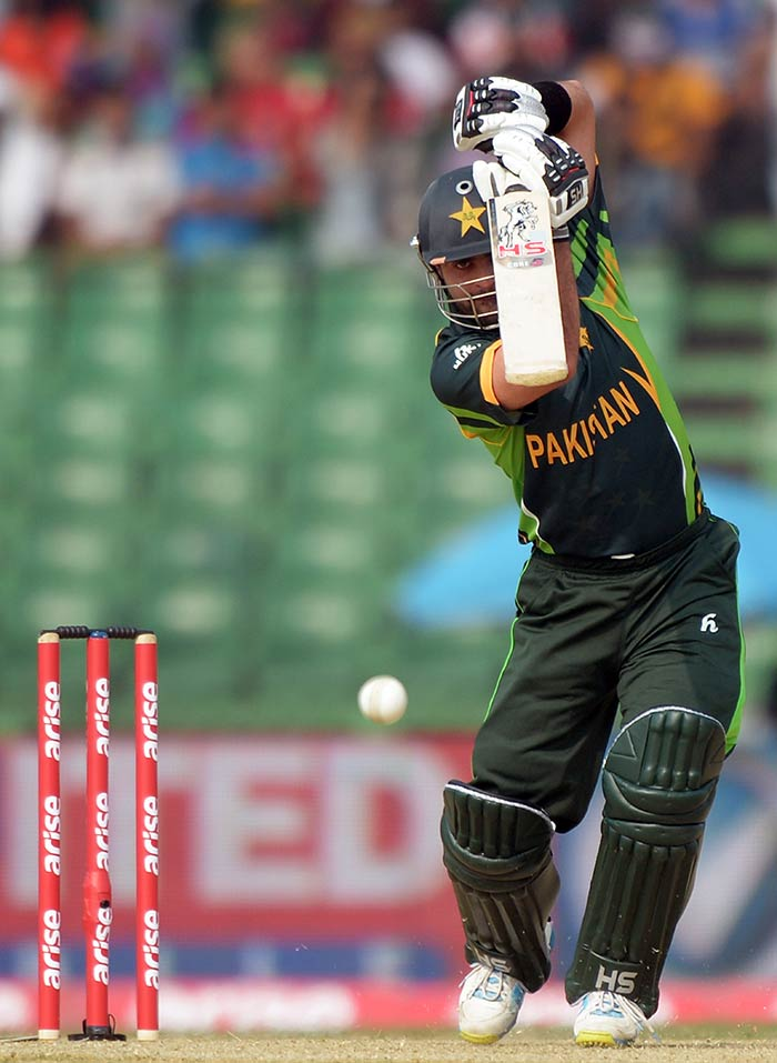 Pakistan's Ajmal Shehzad (50) scored a half-century in a game where the rest of the top-order was crumbling around him against Afghanistan at Fatullah (All images AFP and AP).