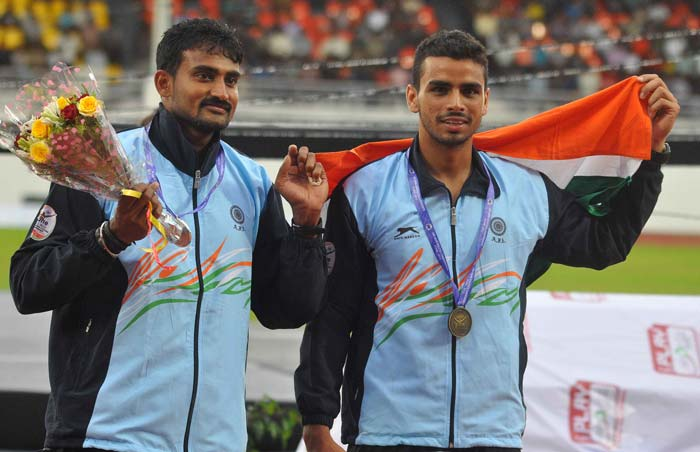 Besides the gold from relay team comprising M R Poovamma, Tintu Luka, Anu Mariam Jose and Nirmala, India won a silver and a bronze in men's triple jump through Renjith Maheswary and Arpinder Singh.