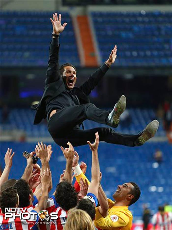 Atletico also ended the match with 10 men when Gabi was sent off seconds before the final whistle for a second yellow card. But Diego Simeone's team held on to seal their third trophy in little over a year.