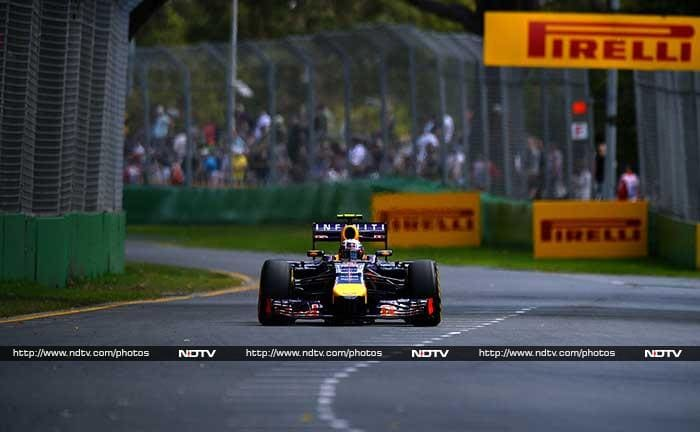 Ricciardo, preparing for his first race with Red Bull, stormed to the top of the field as the clocked ticked down to zero, before he was trumped by Mercedes' Hamilton in a flying last lap in driving rain.