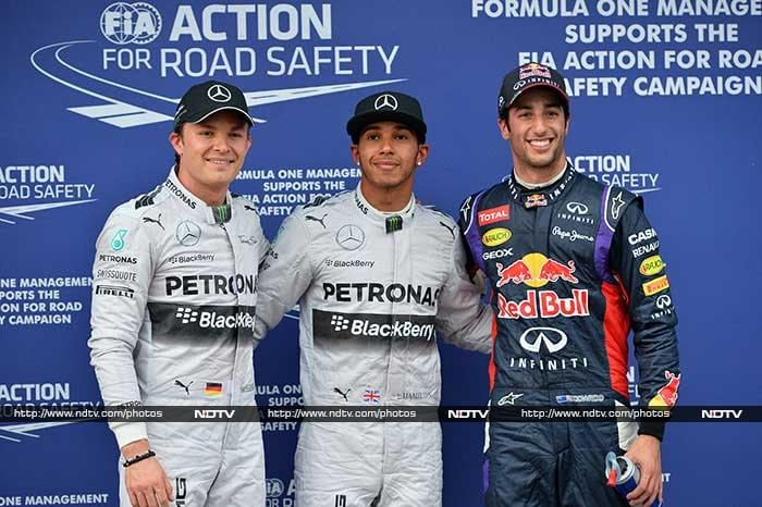 In what turned out to be an unexpectedly tricky qualifying session, drivers found it tough to get their 2014 season off to a confident start.<br><br> Mercedes' Lewis Hamilton (center) took pole position while Red Bull debutant Daniel Ricciardo (right) came second and Nico Rosberg finished with the third quickest time.