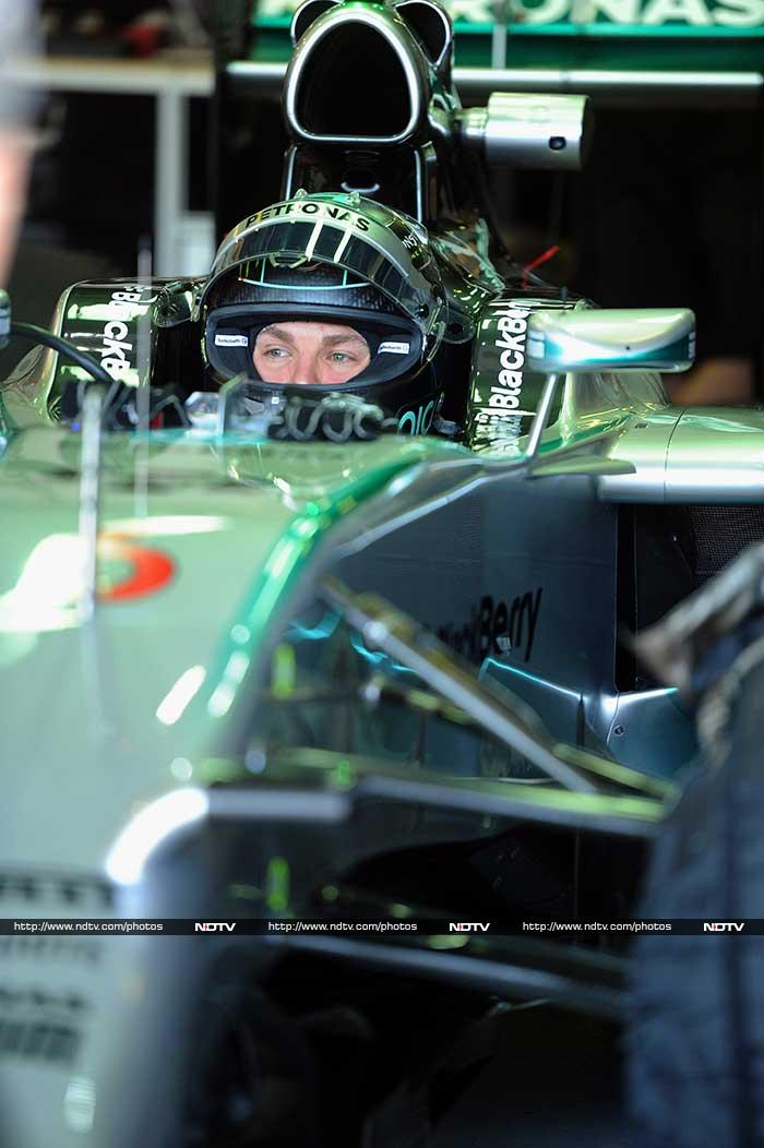 Hamilton's German team-mate, Nico Rosberg, placed third, with McLaren rookie Kevin Magnussen fourth and Ferrari's Fernando Alonso fifth in the season's first qualifying session.