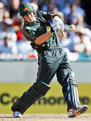 Michael Clarke hits the ball for four runs during their one-day international against India at the Sydney Cricket Ground on Sunday, February 24, 2008.