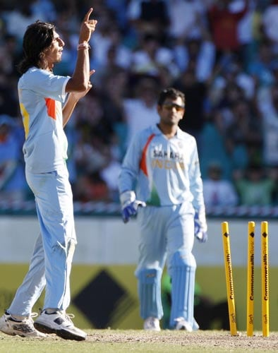 Ishant Sharma gestures to Andrew Symonds after bowling him during their one-day international at the Sydney Cricket Ground on Sunday, February 24, 2008.