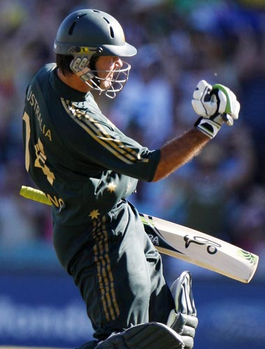 Ricky Ponting reacts after scoring a century during their one-day international against India at the Sydney Cricket Ground on Sunday, February 24, 2008.