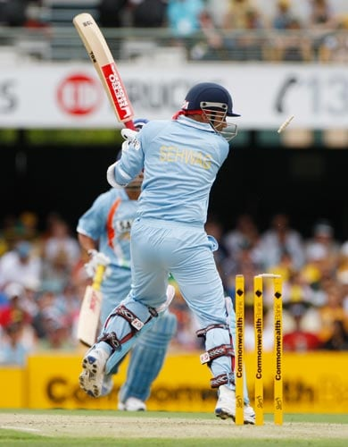 Virender Sehwag is bowled during their One-Day cricket international against Australia in Brisbane on Sunday, February 03, 2008.