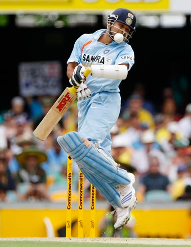 Sachin Tendulkar ducks away from a ball during their One-Day cricket international against Australia in Brisbane on Sunday, February 03, 2008.
