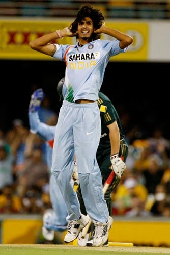 Ishant Sharma celebrates after dismissing Australian batsman James Hopes during their One-Day cricket international in Brisbane on Sunday, February 03, 2008.
