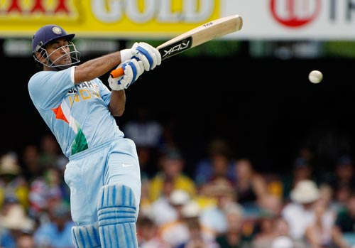 MS Dhoni plays a pull shot during their One-Day cricket international against Australia in Brisbane on Sunday, February 03, 2008