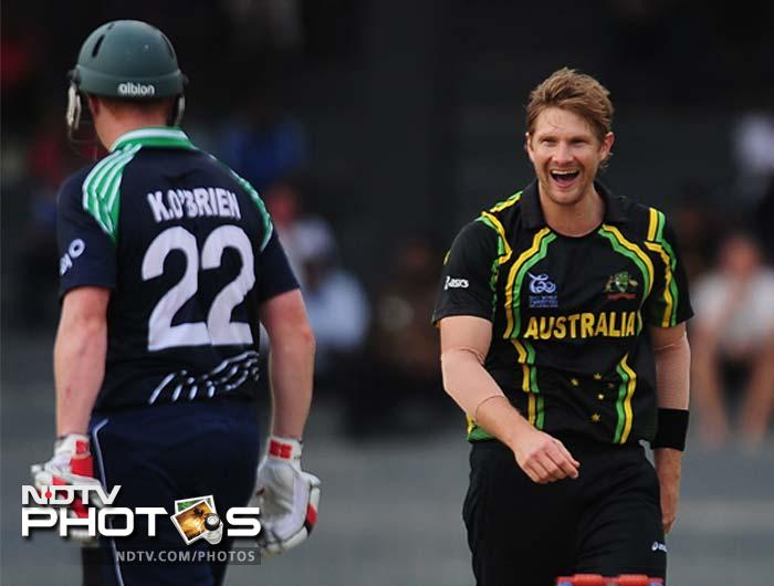Shane Watson started the proceedings in a grand fashion by picking up Ireland skipper William Poterfield in the first ball. He followed it up with that of Nial and Kevin O' Brien's wickets.