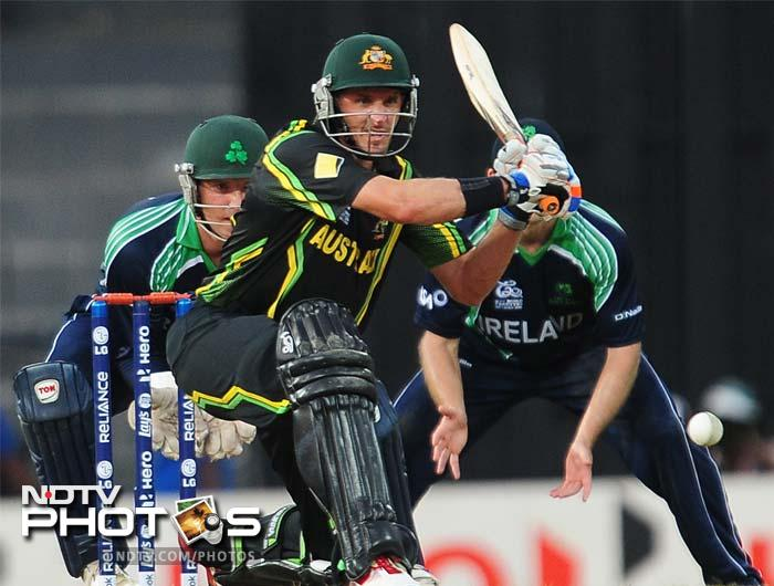 Michael Hussey was expected to finish off the match for the Aussies, but the veteran was caught trapped in front of the wicket by Kevin O' Brien.
