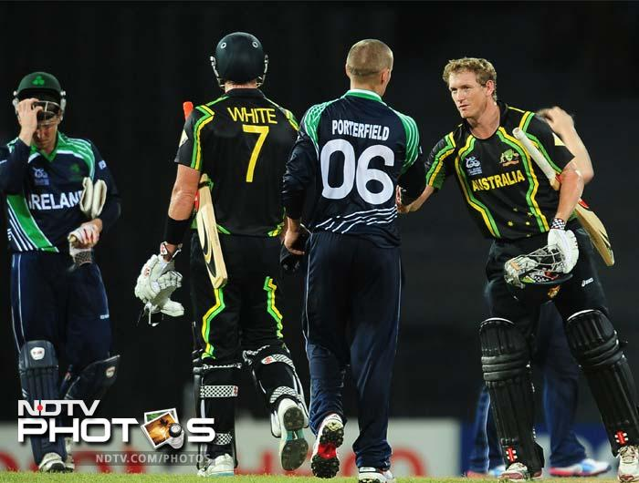 Australia beat Ireland by 7 wickets in their opening Group B World T20 match in Colombo.