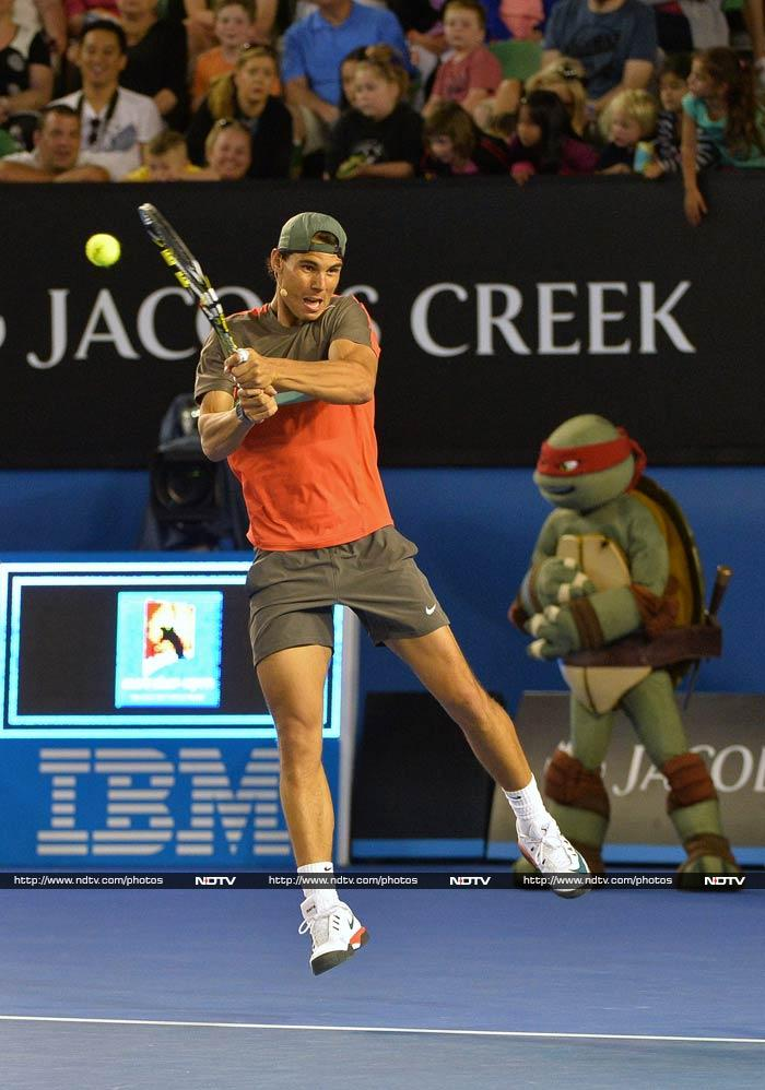 Sometimes, Nadal appears all too serious even when the point is to just have fun. <br><br>Look at that for a backhand...