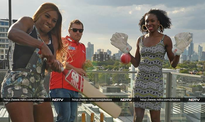 Daughters Serena (left) and Venus too are having a jolly time and are seen here enjoying a game of cricket with Aussie player Aaron Finch.