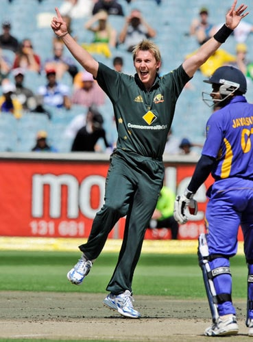 Brett Lee from Australia celebrates the wicket of Dilruwan Perera during the one-day international cricket match against Sri Lanka at the Melbourne Cricket Ground on Friday, February 29, 2008.