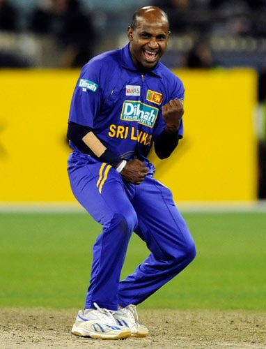 Sanath Jayasuriya from Sri Lanka celebrates the final wicket of Brett Lee to defeat Australia during their one-day international cricket match at the Melbourne Cricket Ground on Friday, February 29, 2008.