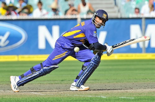 Sanath Jayasuriya from Sri Lanka hits a single to bring up his 50 runs during the one day international cricket match against Australia at the Melbourne Cricket Ground on Friday, February 29, 2008.