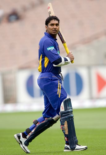 Kumar Sangakkara from Sri Lanka leaves the field after being dismissed during the one-day international cricket match against Australia at the Melbourne Cricket Ground on Friday, February 29, 2008.