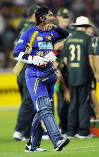 Kumar Sangakkara from Sri Lanka leaves the field after being dismissed during the one-day international cricket match against Australia at the Melbourne Cricket Ground on Friday, February 22, 2008.