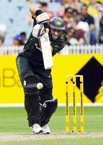 Michael Hussey from Australia in action during the one-day international cricket match against Sri Lanka at the Melbourne Cricket Ground on Friday, February 22, 2008.